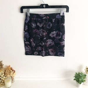 Midnight Floral Print Mini Skirt